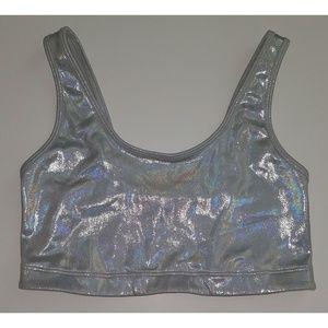Victoria's Secret PINK Metallic Silver Sports Bra